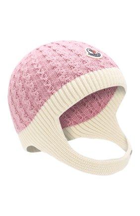 Детского шерстяная шапка MONCLER ENFANT розового цвета, арт. D2-951-99212-05-969BU | Фото 1