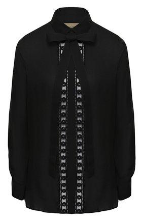 Блуза из смеси шелка и хлопка с бантом | Фото №1