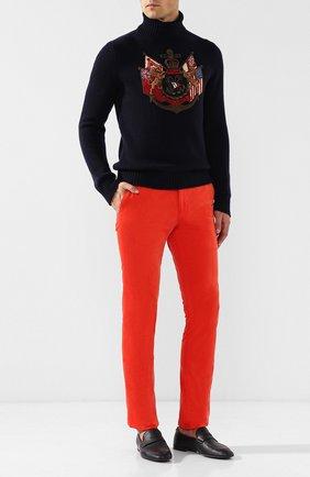 Мужские хлопковые брюки прямого кроя RALPH LAUREN оранжевого цвета, арт. 790565369   Фото 2