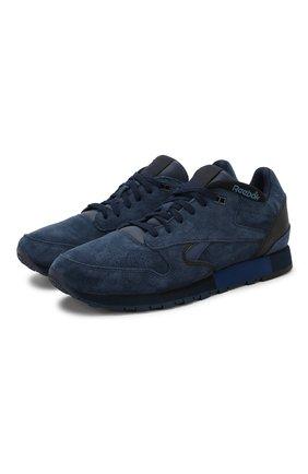 Замшевые кроссовки Classic на шнуровке Reebok синие   Фото №1