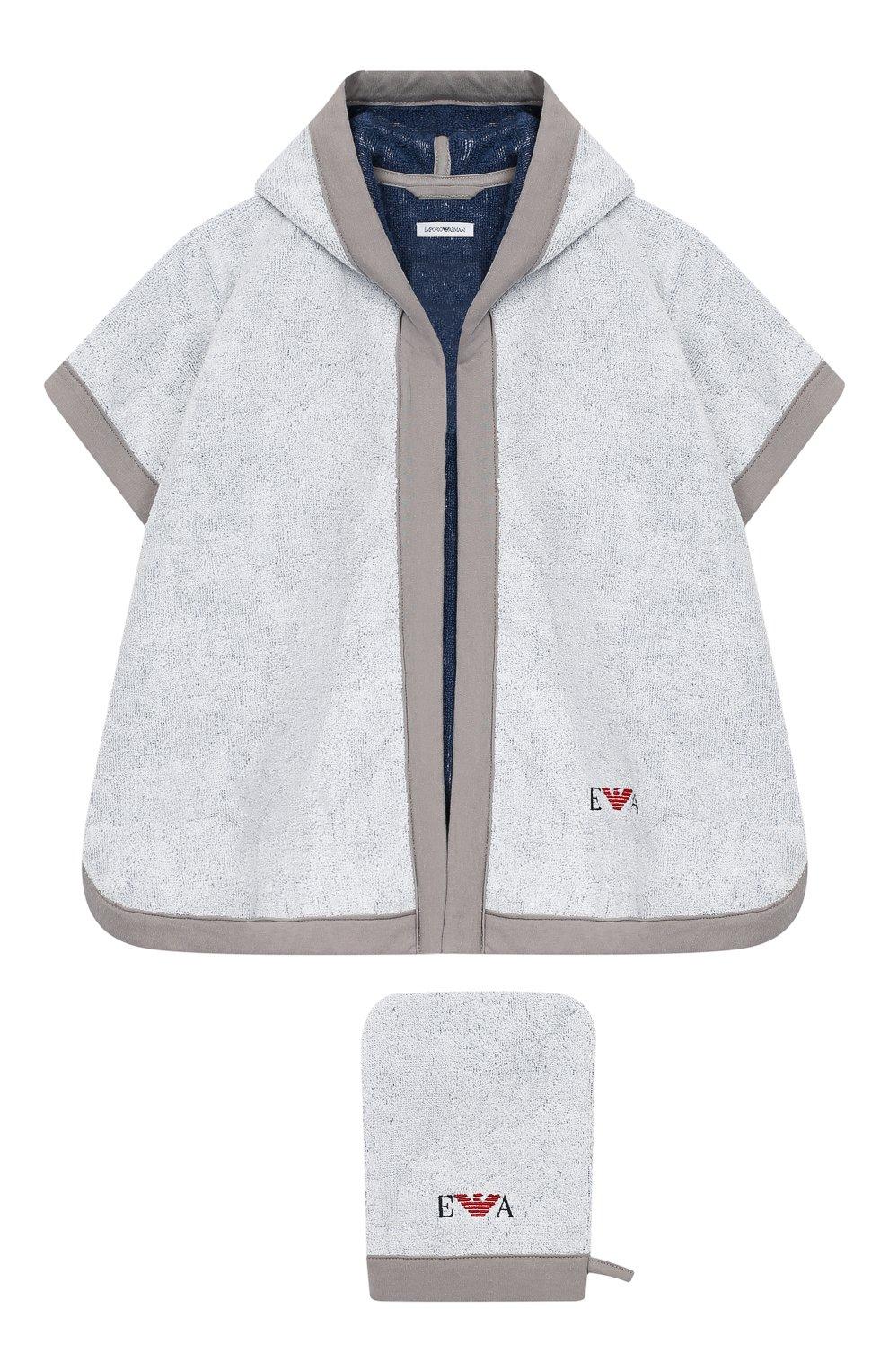 Детского комплект из хлопкового халата и рукавицы EMPORIO ARMANI серого цвета, арт. 407123/8A710   Фото 1