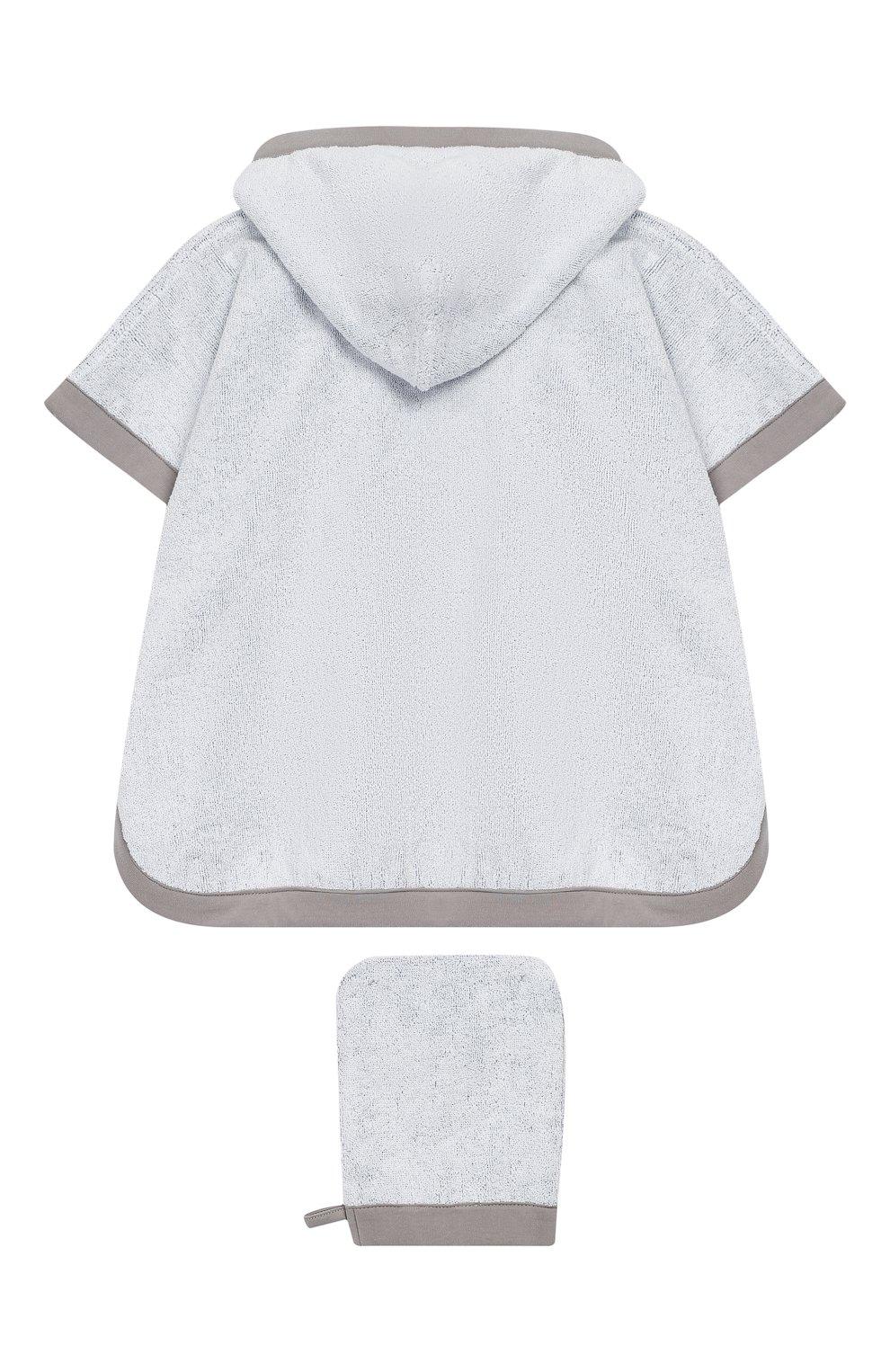 Детского комплект из хлопкового халата и рукавицы EMPORIO ARMANI серого цвета, арт. 407123/8A710   Фото 2