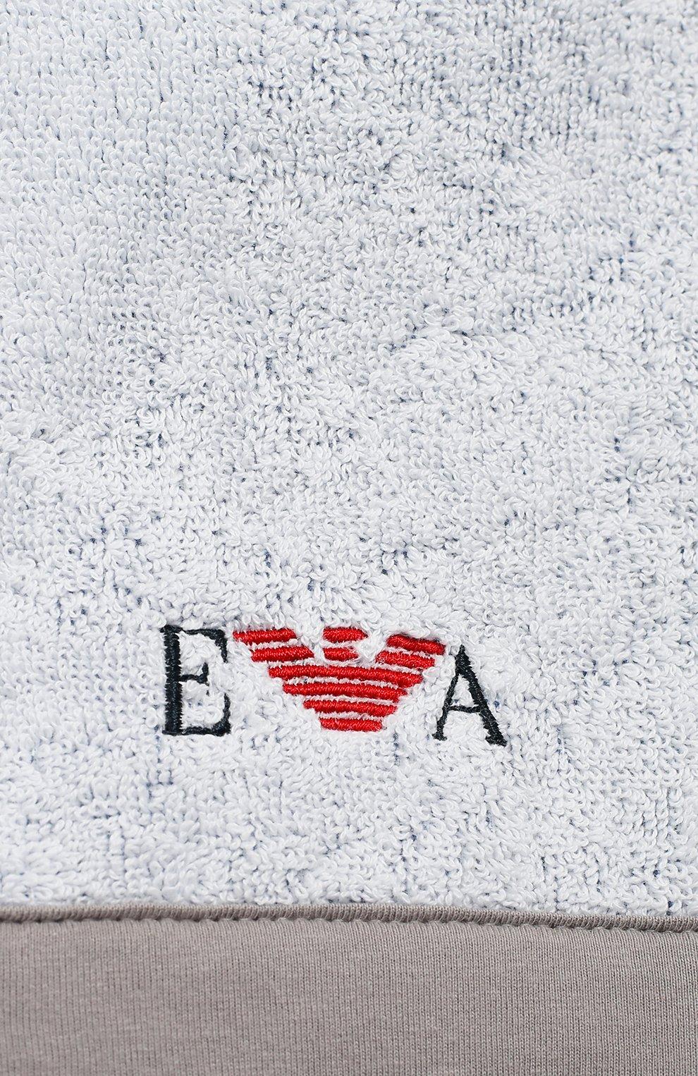 Детского комплект из хлопкового халата и рукавицы EMPORIO ARMANI серого цвета, арт. 407123/8A710   Фото 3