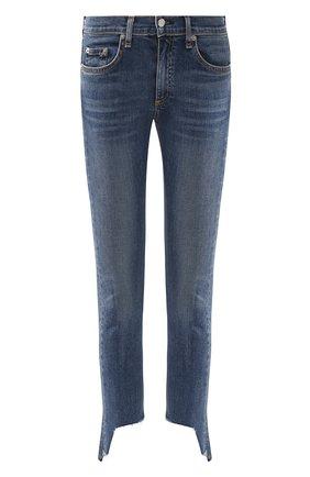 Женские укороченные джинсы-скинни с потертостями RAG&BONE синего цвета, арт. W1526K520HAM   Фото 1