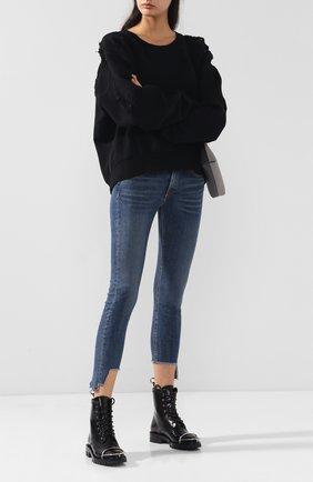 Женские укороченные джинсы-скинни с потертостями RAG&BONE синего цвета, арт. W1526K520HAM   Фото 2