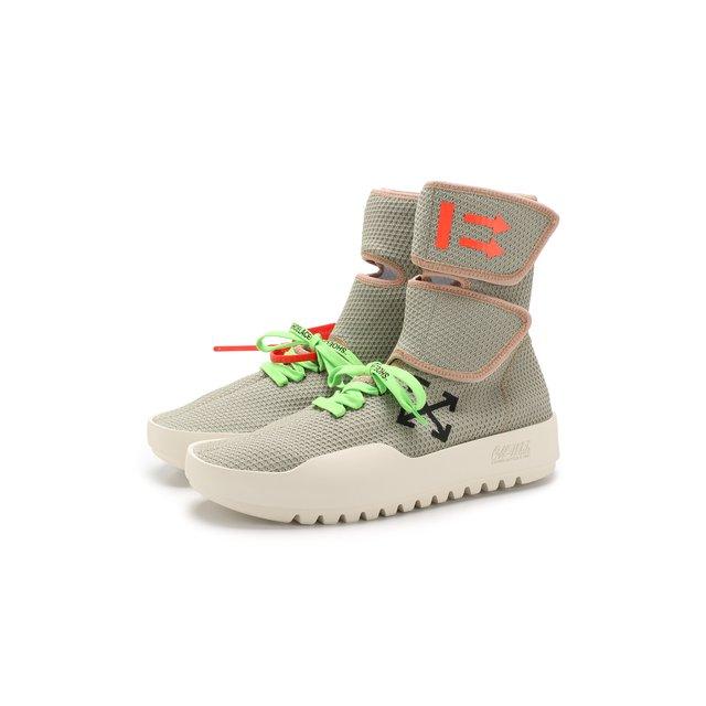Высокие текстильные кроссовки CST- 001 на шнуровке Off-White — Высокие текстильные кроссовки CST- 001 на шнуровке