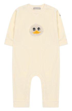 Детский бархатный комбинезон MONCLER ENFANT белого цвета, арт. D2-951-85733-06-8999Y | Фото 1