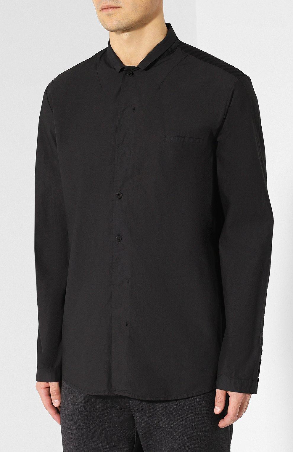 79ee78e9cda Мужская черная рубашка из смеси хлопка и вискозы с шерстью TRANSIT ...