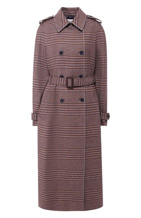 Двубортное пальто из смеси шерсти и кашемира с поясом | Фото №1