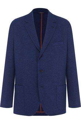 Мужской кашемировый пиджак LORO PIANA темно-синего цвета, арт. FAI2695 | Фото 1