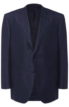 Мужской однобортный пиджак из смеси шерсти и шелка со льном BRIONI синего цвета, арт. RG0J0L/07A7Q/BRUNIC0/2 | Фото 1