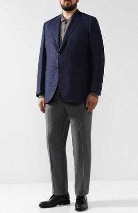 Мужской однобортный пиджак из смеси шерсти и шелка со льном BRIONI синего цвета, арт. RG0J0L/07A7Q/BRUNIC0/2 | Фото 2