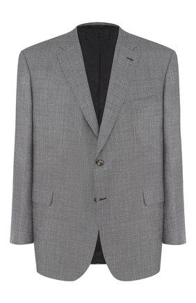 Мужской однобортный пиджак из смеси шерсти и шелка со льном BRIONI серого цвета, арт. RG0J0L/07A7R/BRUNIC0/2 | Фото 1