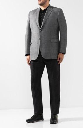 Мужской однобортный пиджак из смеси шерсти и шелка со льном BRIONI серого цвета, арт. RG0J0L/07A7R/BRUNIC0/2 | Фото 2