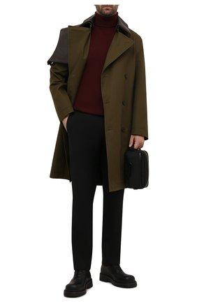 Мужской шерстяная водолазка BRIONI темно-коричневого цвета, арт. UMU70L/0ZK18 | Фото 2 (Рукава: Длинные; Материал внешний: Шерсть; Big photo: Big photo; Длина (для топов): Стандартные; Принт: Без принта; Мужское Кросс-КТ: Водолазка-одежда)