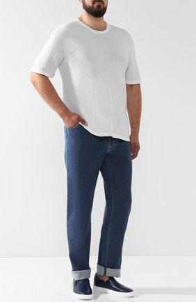 Мужские джинсы прямого кроя BRIONI синего цвета, арт. SPLE0L/07D24/CHAM0NIX   Фото 2