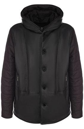 Кожаная куртка на пуговицах с текстильными рукавами и подстежкой | Фото №1
