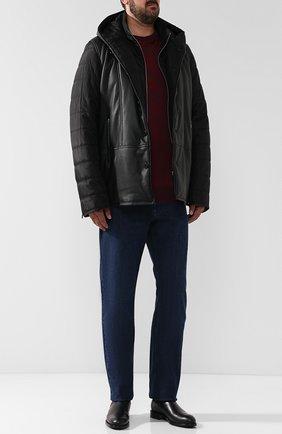 Кожаная куртка на пуговицах с текстильными рукавами и подстежкой | Фото №2