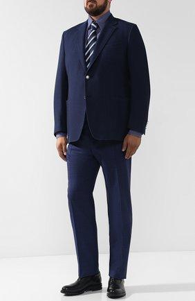 Мужская хлопковая сорочка с воротником кент ZILLI синего цвета, арт. MFQ-MERCU-46103/RZ01   Фото 2