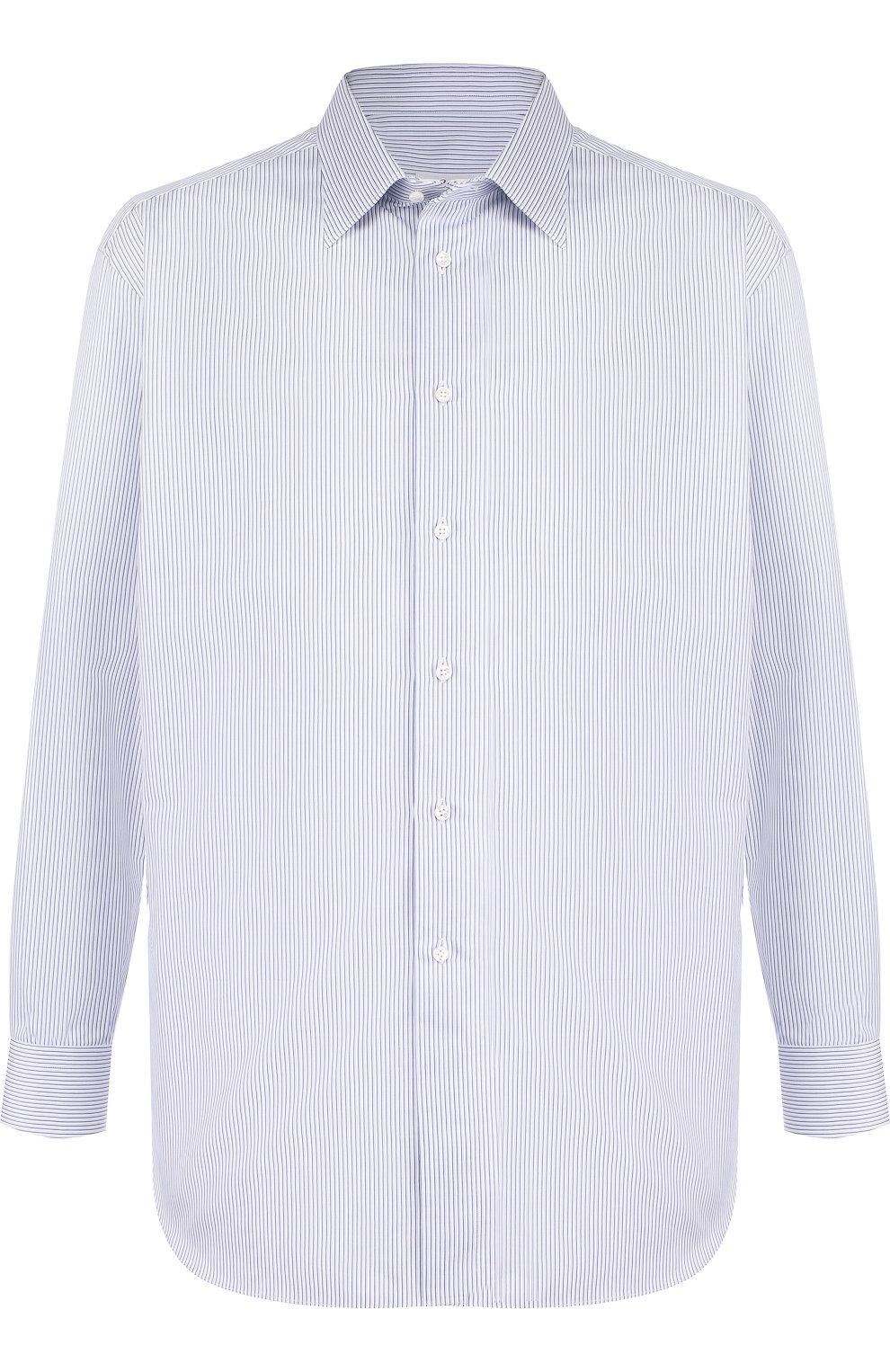 Мужская хлопковая сорочка с воротником кент BRIONI голубого цвета, арт. RCLU0W/07089 | Фото 1