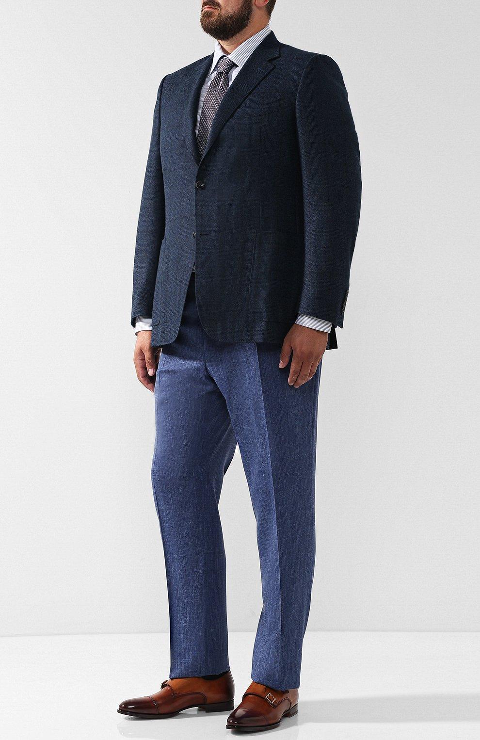 Мужская хлопковая сорочка с воротником кент BRIONI голубого цвета, арт. RCLU0W/07089 | Фото 2