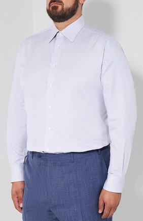 Мужская хлопковая сорочка с воротником кент BRIONI голубого цвета, арт. RCLU0W/07089 | Фото 3