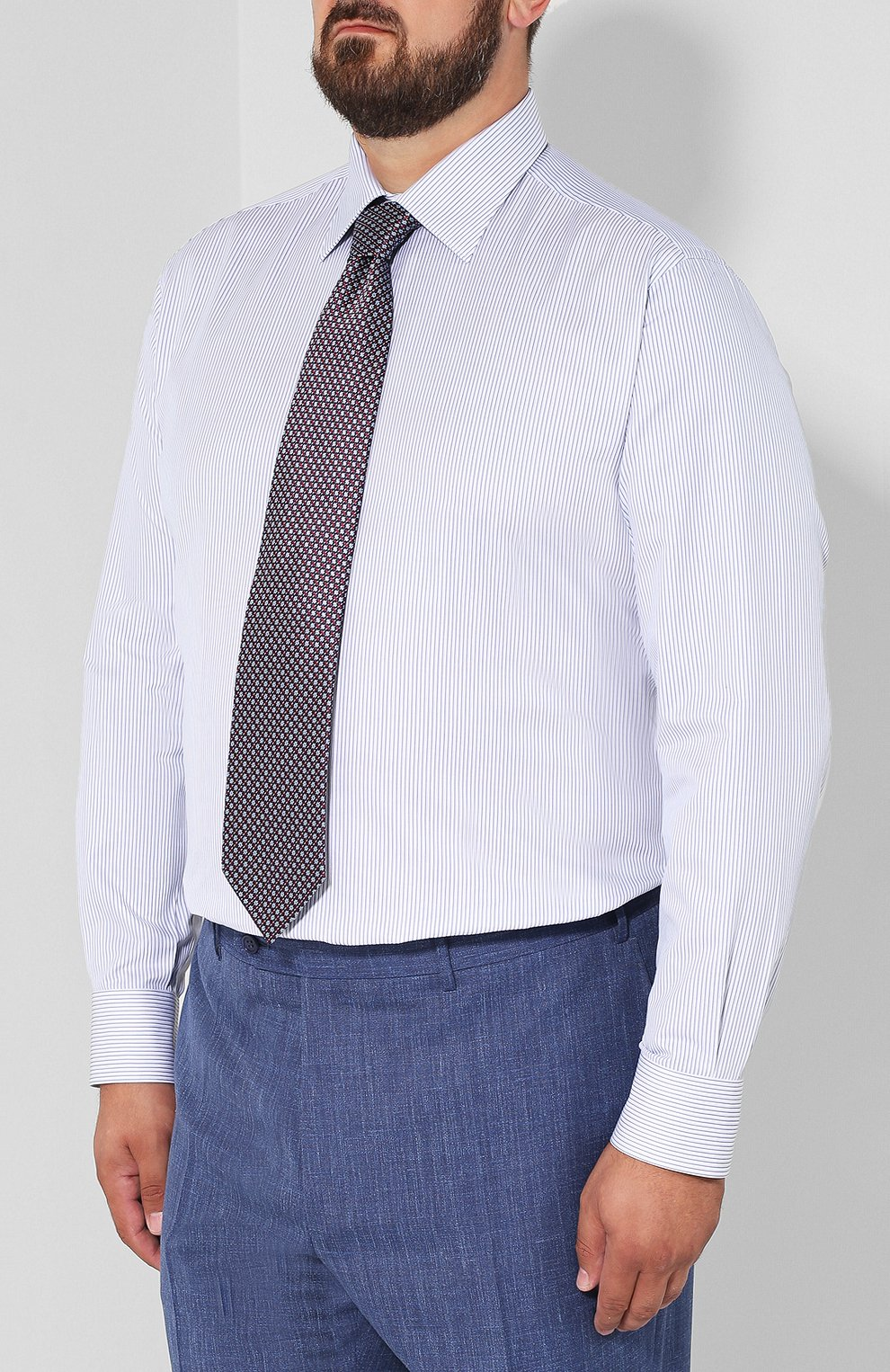 Мужская хлопковая сорочка с воротником кент BRIONI голубого цвета, арт. RCLU0W/07089 | Фото 4