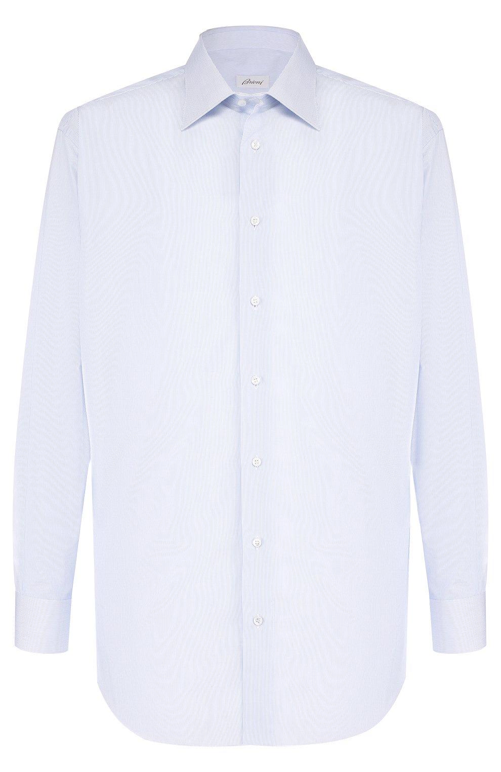 Мужская хлопковая сорочка с воротником кент BRIONI голубого цвета, арт. RCLU2R/PZ006   Фото 1