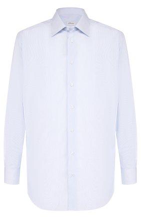 Мужская хлопковая сорочка с воротником кент BRIONI голубого цвета, арт. RCLU2R/PZ006 | Фото 1