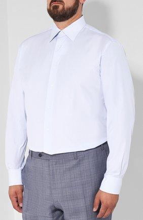 Мужская хлопковая сорочка с воротником кент BRIONI голубого цвета, арт. RCLU2R/PZ006   Фото 3