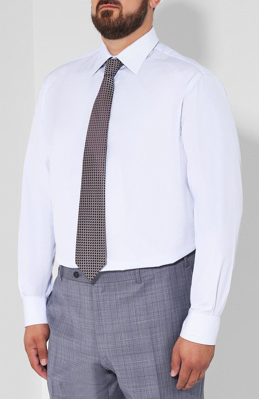Мужская хлопковая сорочка с воротником кент BRIONI голубого цвета, арт. RCLU2R/PZ006   Фото 4