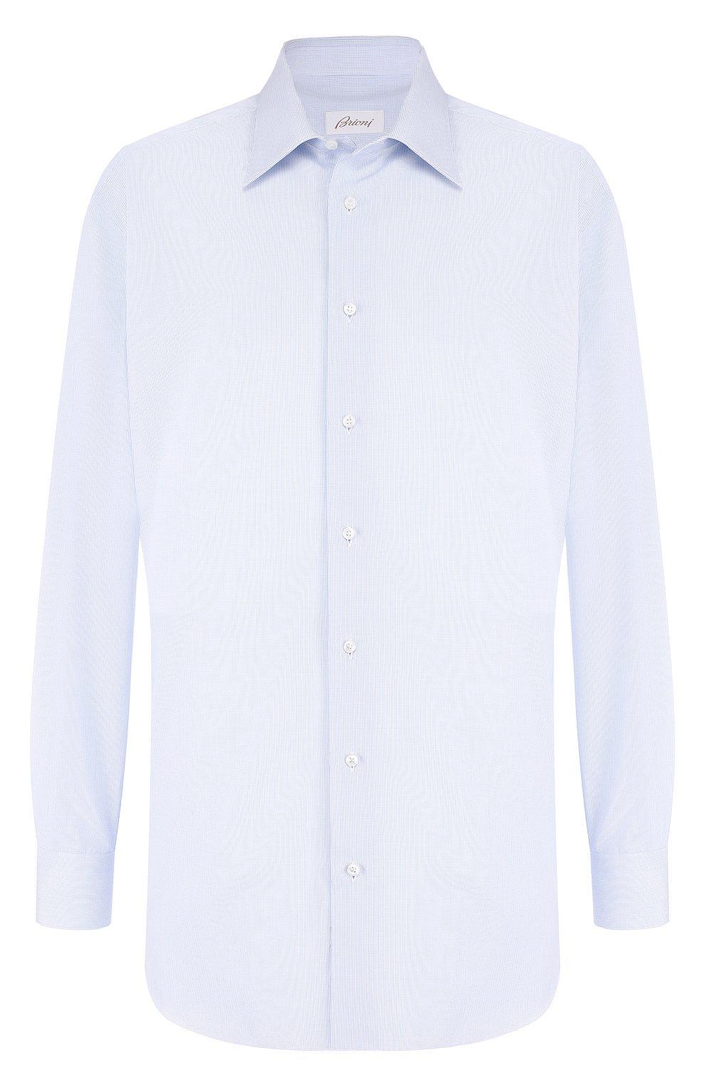 Мужская хлопковая сорочка с воротником кент BRIONI голубого цвета, арт. RCLU2T/PZ007 | Фото 1