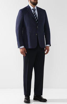 Мужская хлопковая сорочка с воротником кент BRIONI голубого цвета, арт. RCLU2T/PZ007 | Фото 2