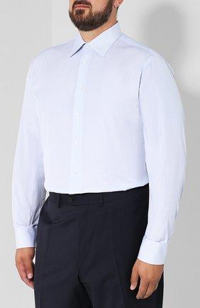 Мужская хлопковая сорочка с воротником кент BRIONI голубого цвета, арт. RCLU2T/PZ007 | Фото 3