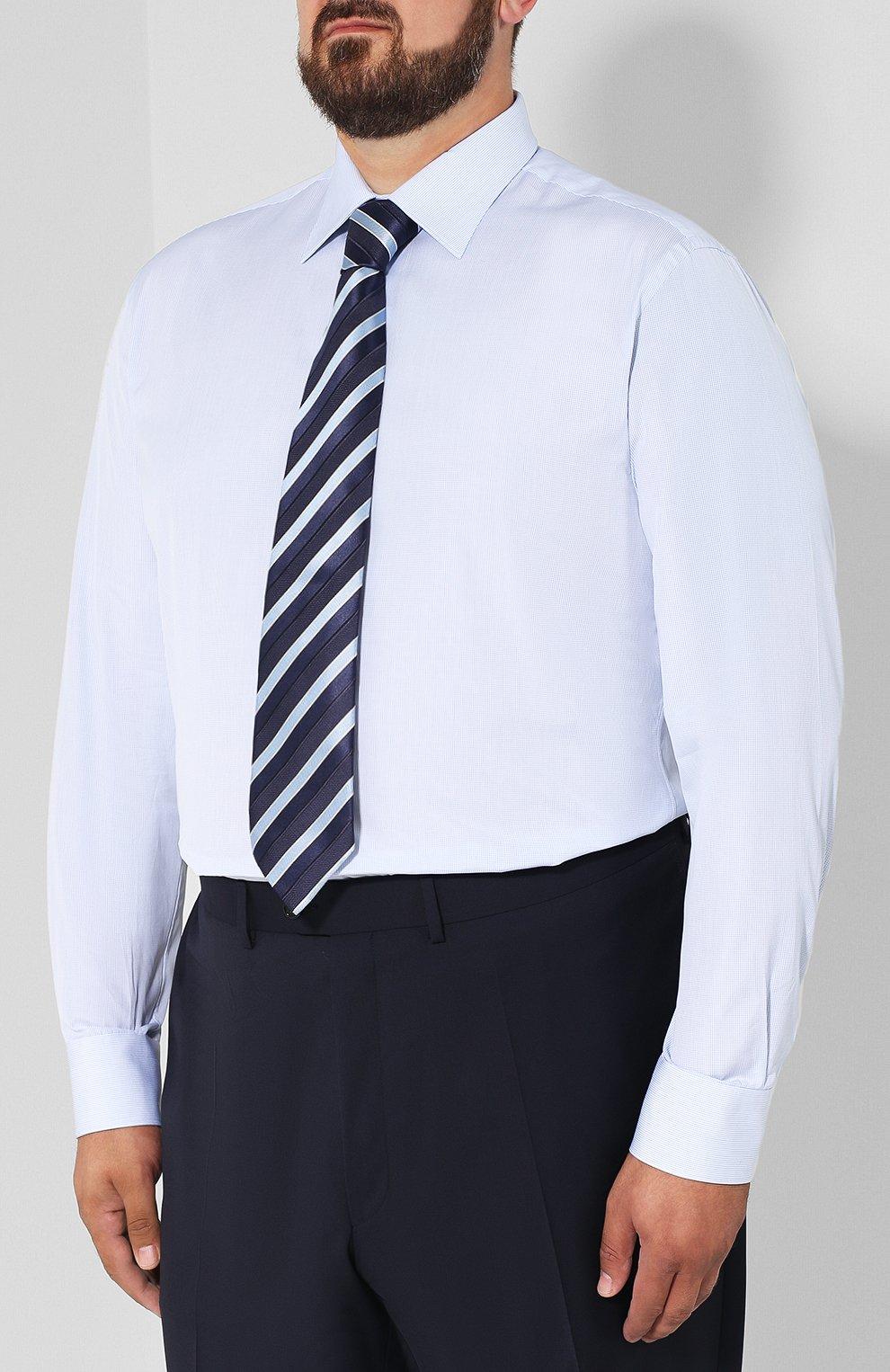 Мужская хлопковая сорочка с воротником кент BRIONI голубого цвета, арт. RCLU2T/PZ007 | Фото 4