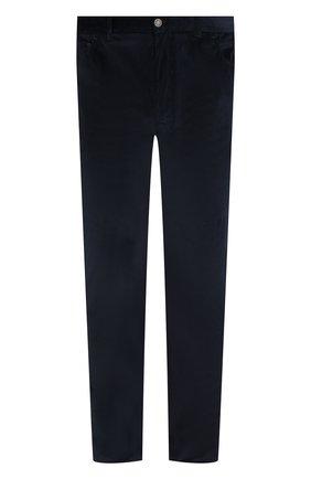 Мужские хлопковые брюки прямого кроя BRIONI темно-синего цвета, арт. SPLE0M/0Z002/CHAM0NIX | Фото 1