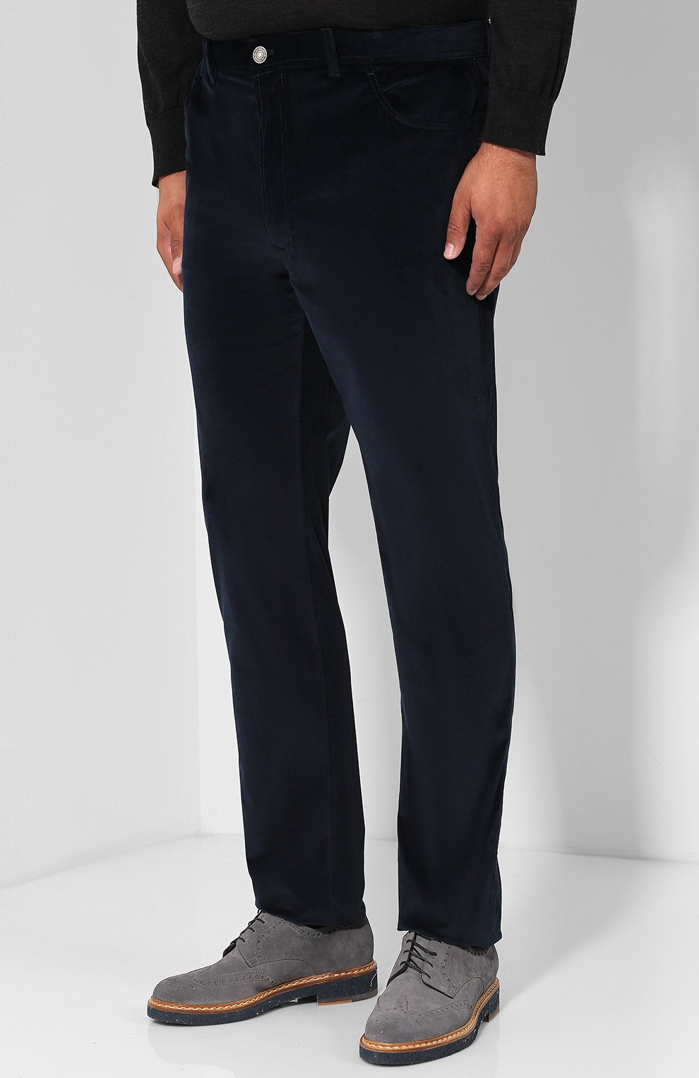 Мужские хлопковые брюки прямого кроя BRIONI темно-синего цвета, арт. SPLE0M/0Z002/CHAM0NIX | Фото 3