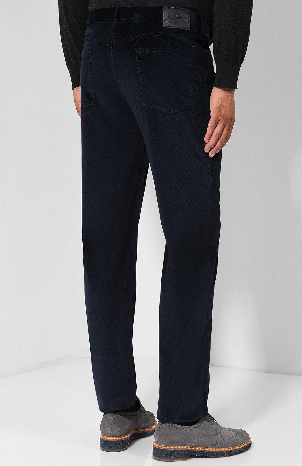 Мужские хлопковые брюки прямого кроя BRIONI темно-синего цвета, арт. SPLE0M/0Z002/CHAM0NIX | Фото 4