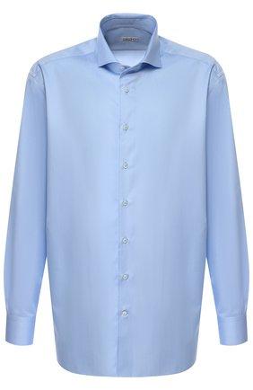 Мужская хлопковая сорочка с воротником акула ZILLI голубого цвета, арт. MFQ-MERCU-10715/RZ02 | Фото 1