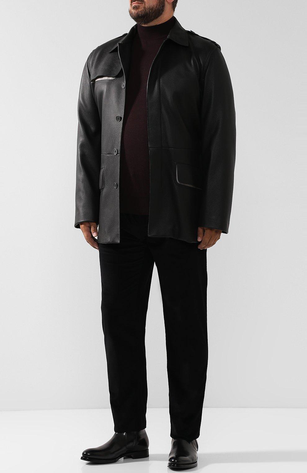 Мужские хлопковые брюки прямого кроя BRIONI черного цвета, арт. SPLE0M/0Z002/CHAM0NIX | Фото 2