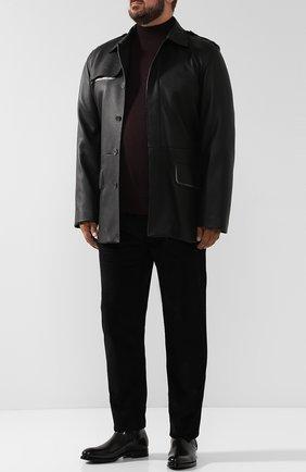 Мужской хлопковые брюки прямого кроя BRIONI черного цвета, арт. SPLE0M/0Z002/CHAM0NIX | Фото 2
