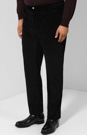 Мужские хлопковые брюки прямого кроя BRIONI черного цвета, арт. SPLE0M/0Z002/CHAM0NIX | Фото 3