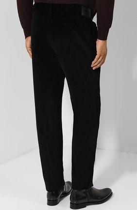 Мужские хлопковые брюки прямого кроя BRIONI черного цвета, арт. SPLE0M/0Z002/CHAM0NIX | Фото 4