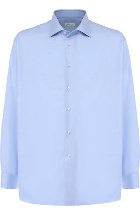 Мужская хлопковая сорочка с воротником кент BRIONI светло-голубого цвета, арт. RCL421/PZ023 | Фото 1