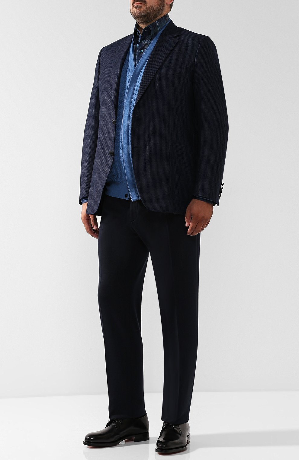 Мужской кардиган из смеси кашемира и шелка ZILLI голубого цвета, арт. MBQ-CB038-PIED1/ML01 | Фото 2