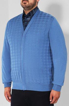 Мужской кардиган из смеси кашемира и шелка ZILLI голубого цвета, арт. MBQ-CB038-PIED1/ML01 | Фото 3