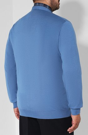 Мужской кардиган из смеси кашемира и шелка ZILLI голубого цвета, арт. MBQ-CB038-PIED1/ML01 | Фото 4