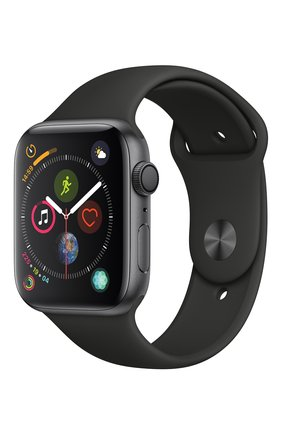 Apple Watch Series 4 (GPS) 44mm Space Gray Aluminium Case with Black Sport Band | Фото №1