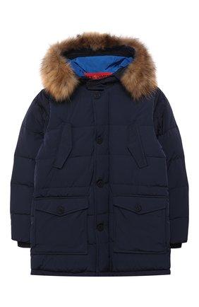 Куртка на молнии с меховой отделкой на капюшоне | Фото №1