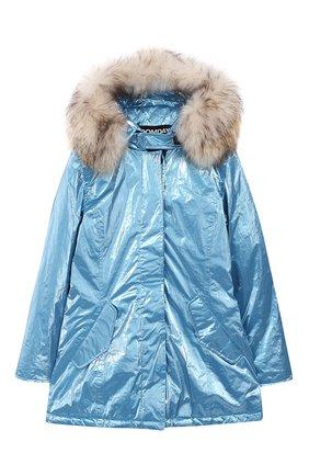 Пальто с меховой отделкой на капюшоне | Фото №1